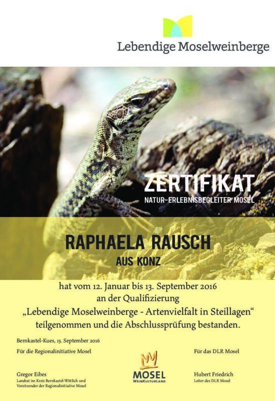 Bild vom Zertifikat Natur-Erlebnisbegleiter Mosel für Raphaela Rausch
